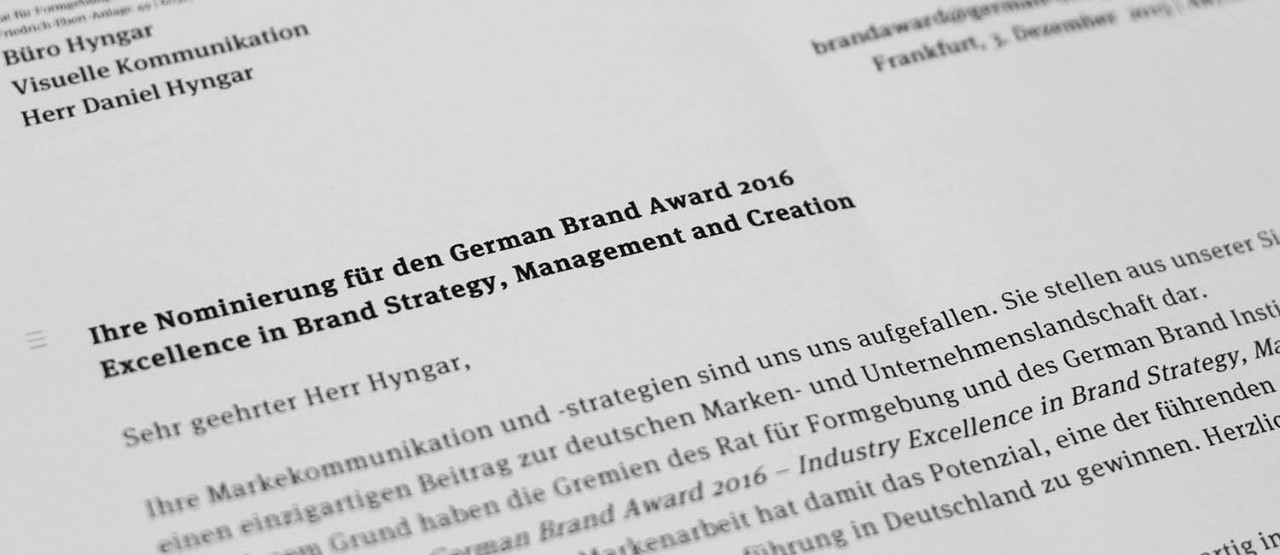 Büro Hyngar Nominierung German Brand Award 2016